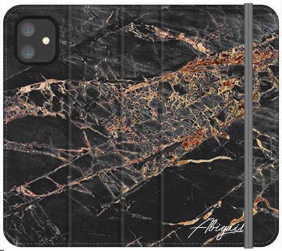 Personalised Slate Marble Bronze Initial iPhone 11 Case