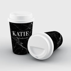 Personalised Black Marble Name Reusable Coffee Cup