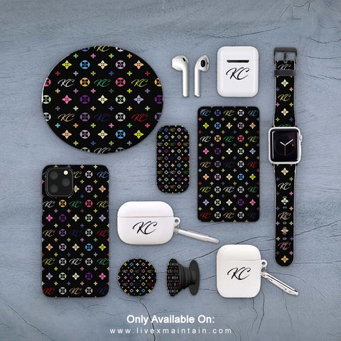 Personalised Black Monogram Phone Case Accessories Package