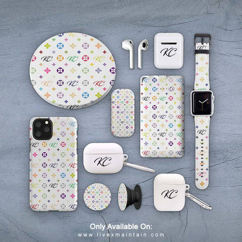 Personalised White Monogram Phone Case Accessories Package