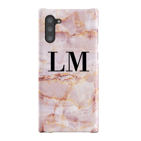 Personalised Natural Pink Marble Initials Samsung Galaxy Note 10 Case