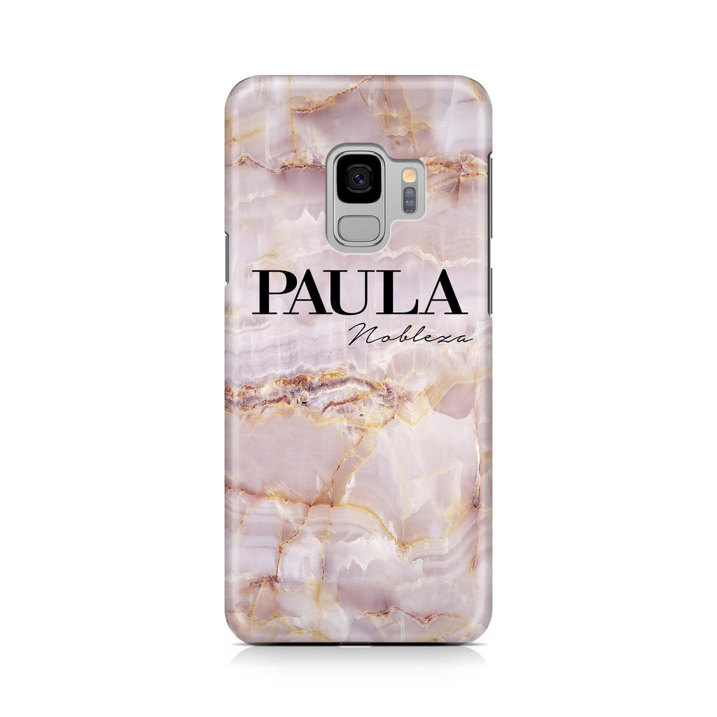 Personalised Natural Pink Marble Name Samsung Galaxy S9 Case