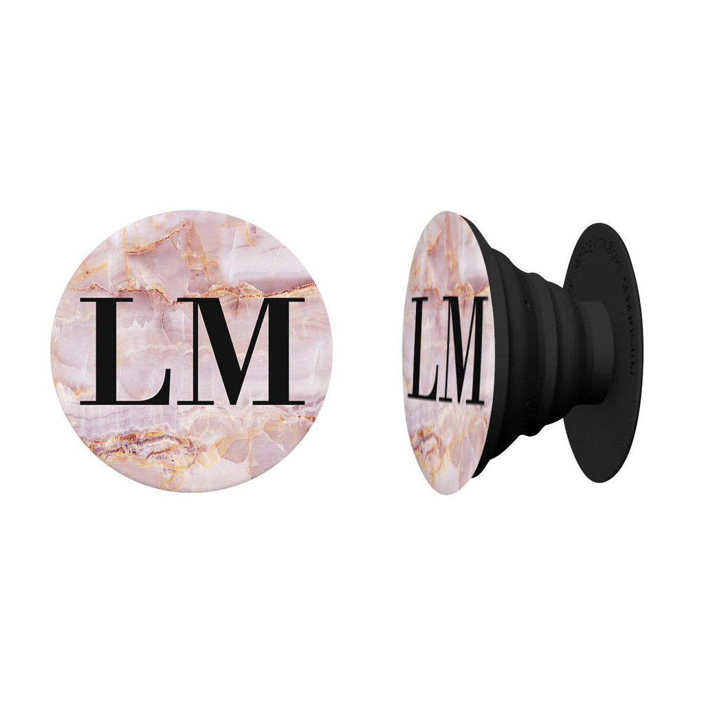 Personalised Natural Pink Marble Initials Phone Grip