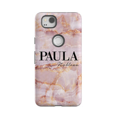 Personalised Natural Pink Marble Name Google Pixel 2 Case