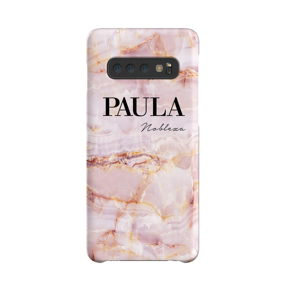 Personalised Natural Pink Marble Name Samsung Galaxy S10 Case