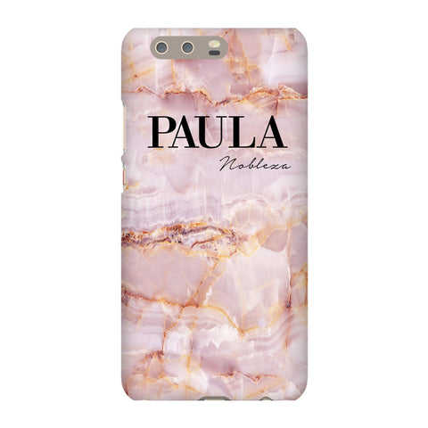 Personalised Natural Pink Marble Name Huawei P10 Plus Case