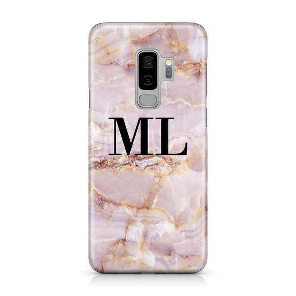 Personalised Natural Pink Marble Initials Samsung Galaxy S9 Plus Case