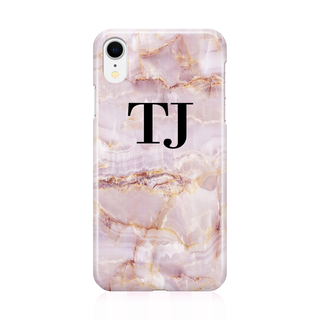 Personalised Natural Pink Marble Initials iPhone XR Case