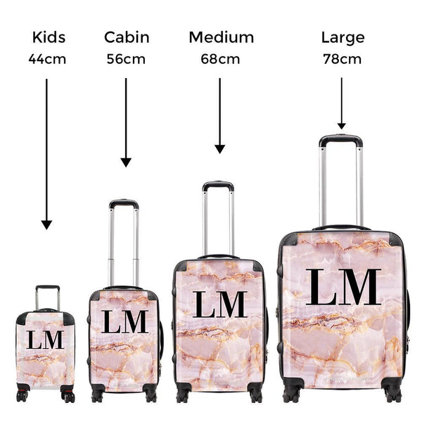 Personalised Natural Pink Marble Initials Suitcase
