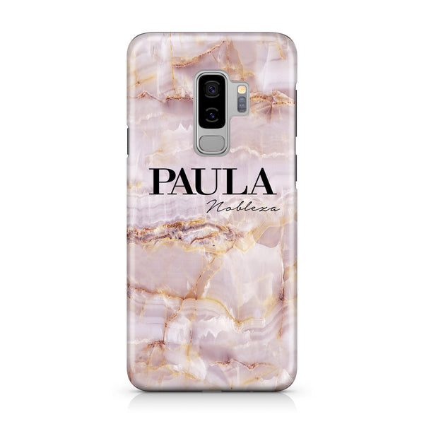 Personalised Natural Pink Marble Name Samsung Galaxy S9 Plus Case