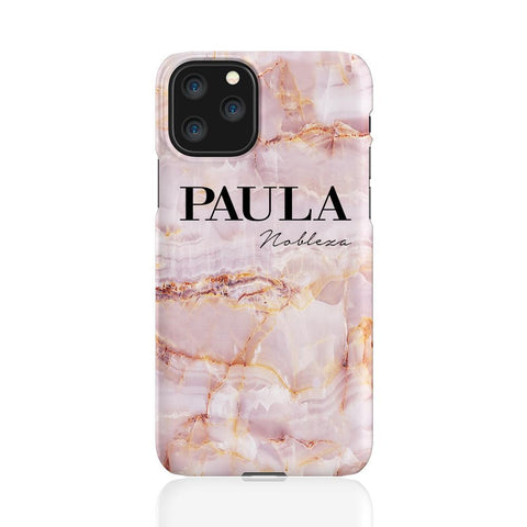 Personalised Natural Pink Marble Name iPhone 11 Pro Case