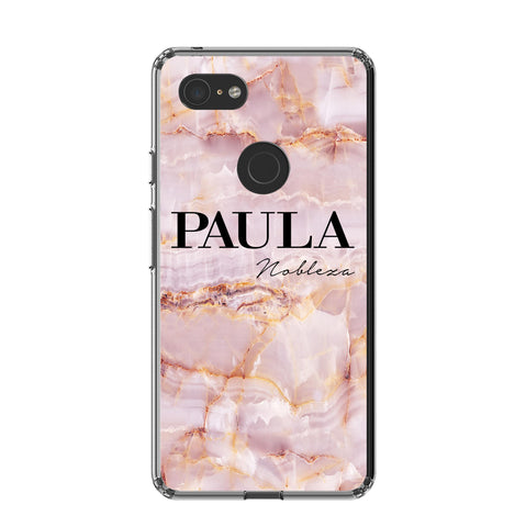 Personalised Natural Pink Marble Name Google Pixel 3 XL Case