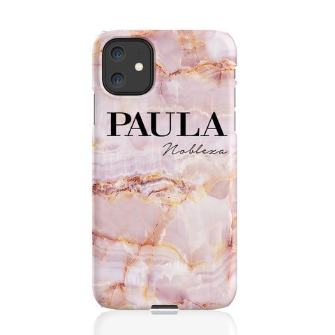Personalised Natural Pink Marble Name iPhone 11 Case