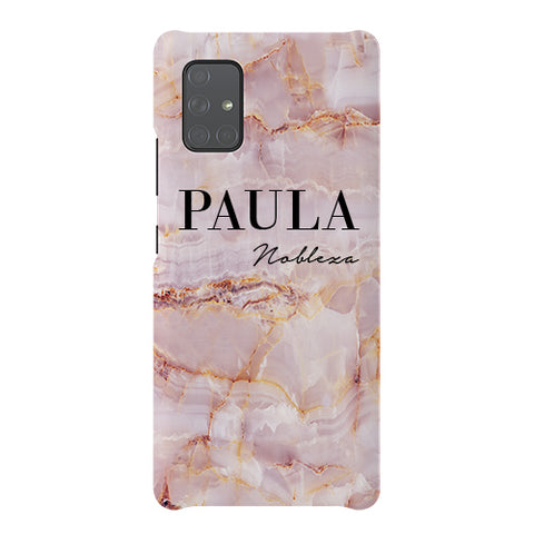 Personalised Natural Pink Marble Name Samsung Galaxy A51 5G Case