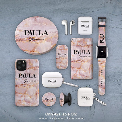 Personalised Natural Pink Marble Name Phone Case Accessories Package