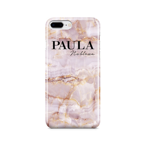 Personalised Natural Pink Marble Name iPhone 7 Plus Case
