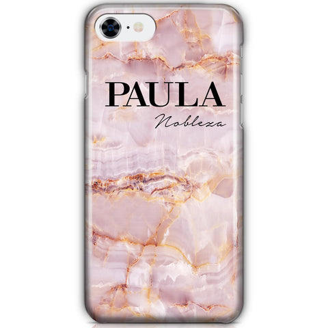 Personalised Natural Pink Marble Name iPhone SE Case