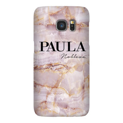Personalised Natural Pink Marble Name Samsung Galaxy S7 Edge Case