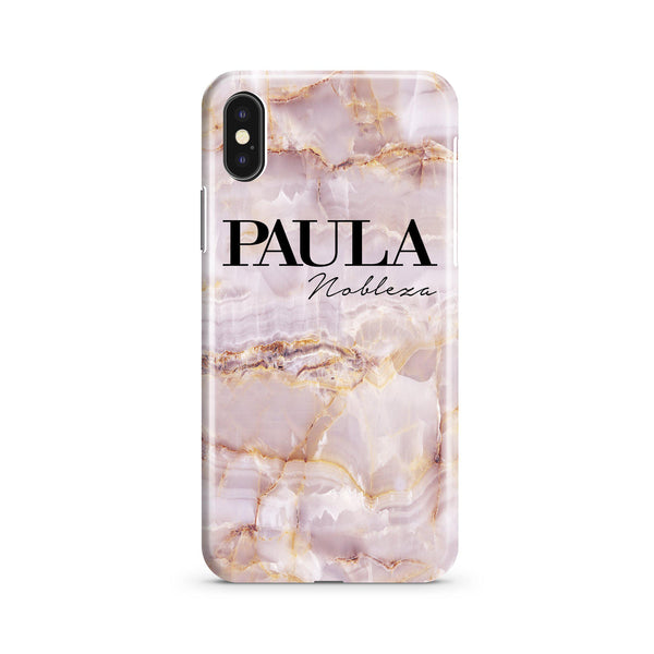 Personalised Natural Pink Marble Name iPhone XS Max Case