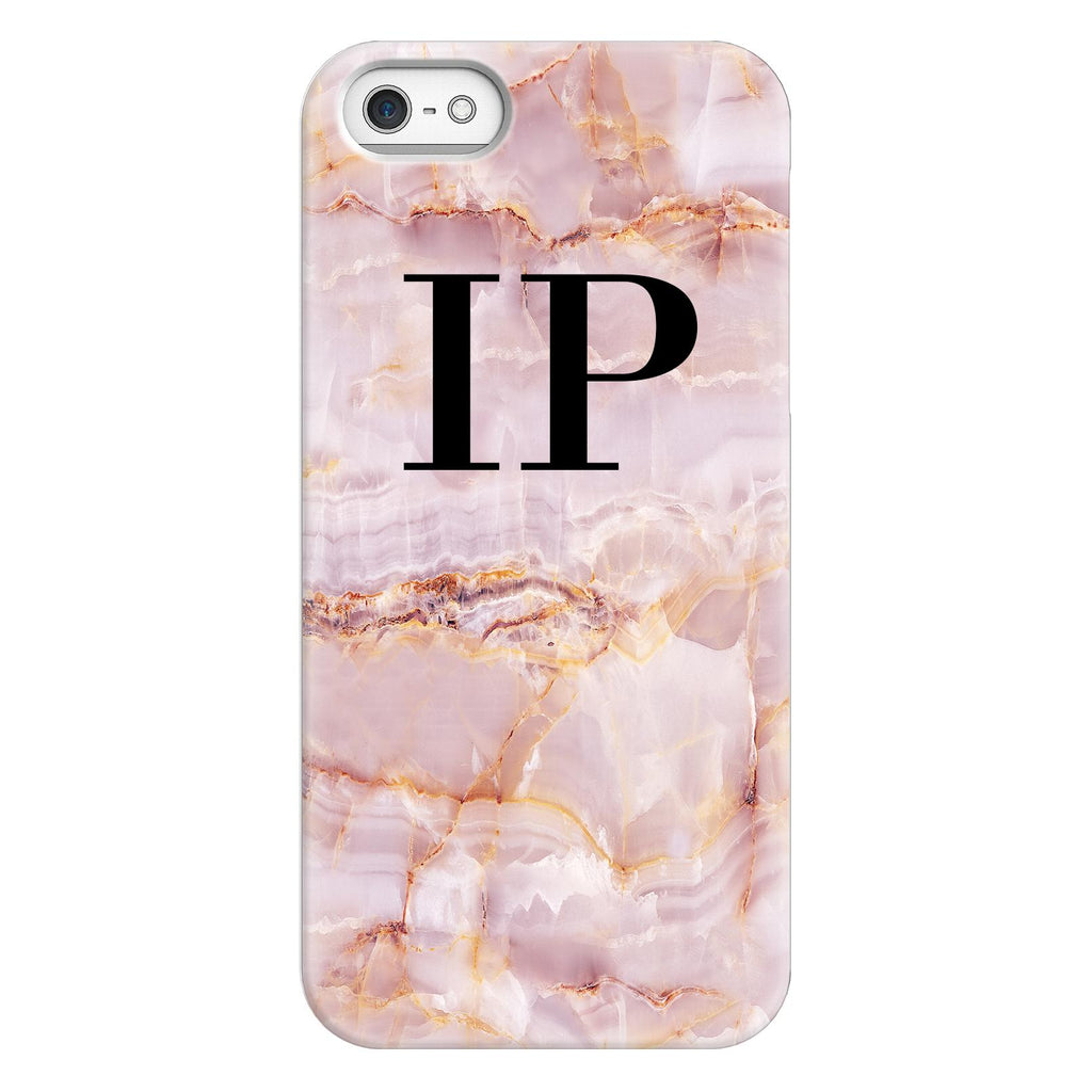 Personalised Natural Pink Marble Initials iPhone 5/5s/SE (2016) Case