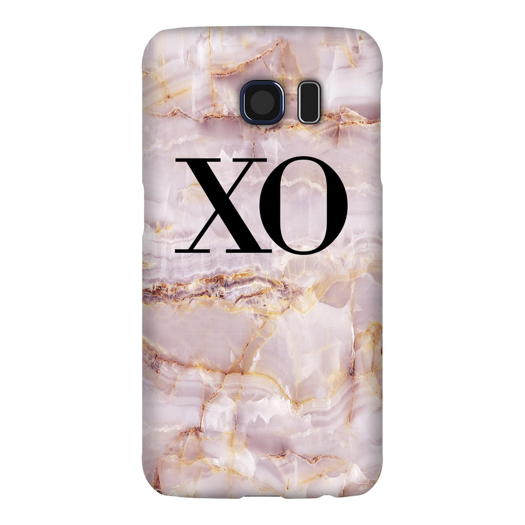 Personalised Natural Pink Marble Initials Samsung Galaxy S6 Edge Case