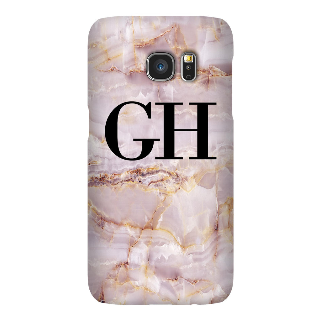 Personalised Natural Pink Marble Initials Samsung Galaxy S7 Edge Case