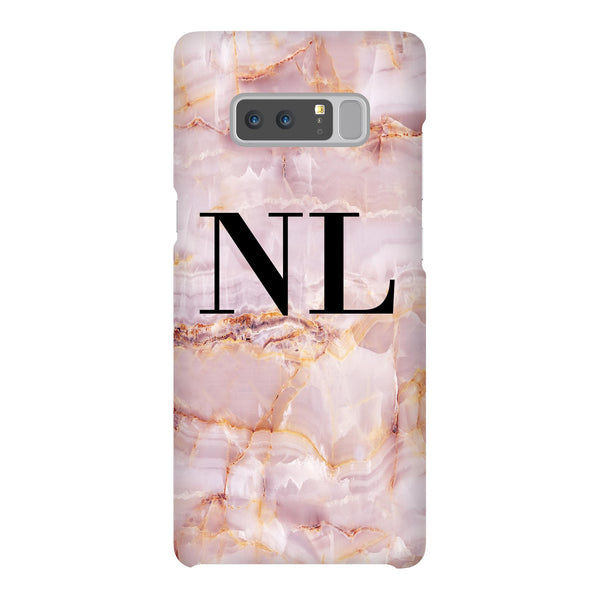 Personalised Natural Pink Marble Initials Samsung Galaxy Note 8 Case