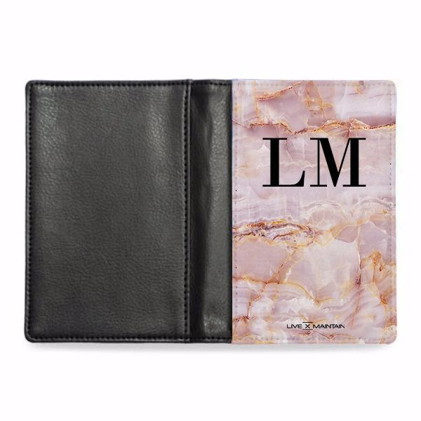 Personalised  Natural Pink Marble Initials Passport Cover