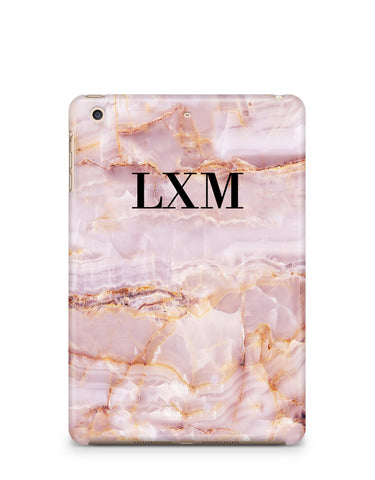 Personalised Natural Pink Marble Initials iPad Case