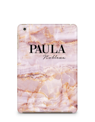 Personalised Natural Pink Marble Names iPad Case