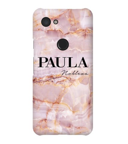 Personalised Natural Pink Marble Name Google Pixel 3a Case