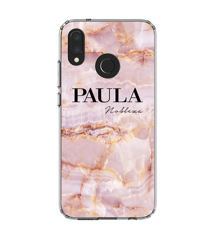 Personalised Natural Pink Marble Name Huawei P20 Lite Case