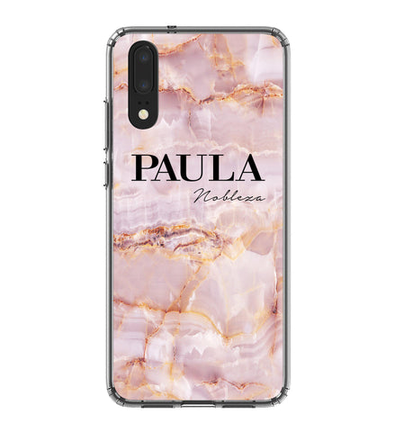 Personalised Natural Pink Marble Name Huawei P20 Case