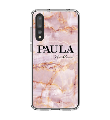 Personalised Natural Pink Marble Name Huawei P20 Pro Case