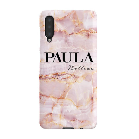 Personalised Natural Pink Marble Name Samsung Galaxy A50 Case