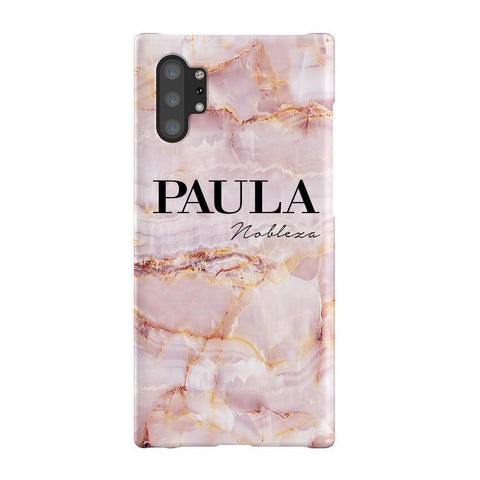 Personalised Natural Pink Marble Name Samsung Galaxy Note 10+ Case