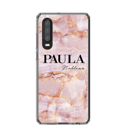 Personalised Natural Pink Marble Name Huawei P30 Case