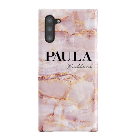 Personalised Natural Pink Marble Name Samsung Galaxy Note 10 Case