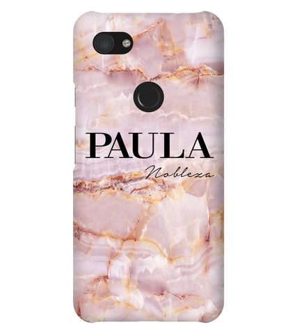 Personalised Natural Pink Marble Name Google Pixel 3a XL Case