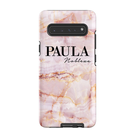 Personalised Natural Pink Marble Name Samsung Galaxy S10 5G Case