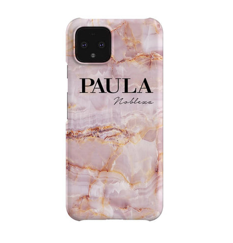 Personalised Natural Pink Marble Name Google Pixel 4 Case