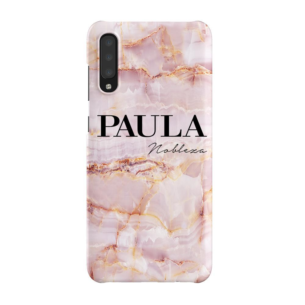 Personalised Natural Pink Marble Name Samsung Galaxy A70 Case
