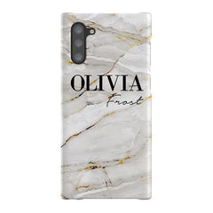 Personalised Cream Marble Name Samsung Galaxy Note 10 Case
