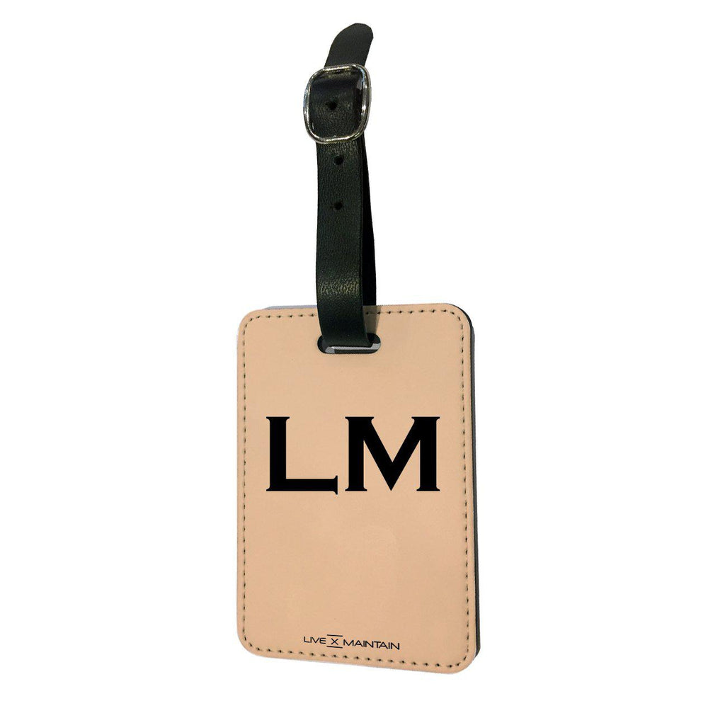 Personalised Nude x Balck Top Initials Luggage Tag