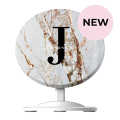 Personalised Cracked Marble Name Initials Wireless Charger
