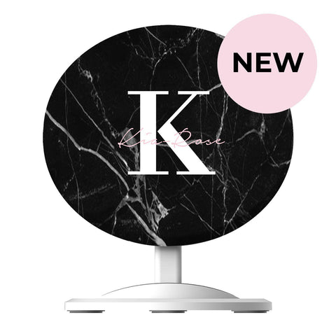 Personalised Black Marble Name Initials Wireless Charger