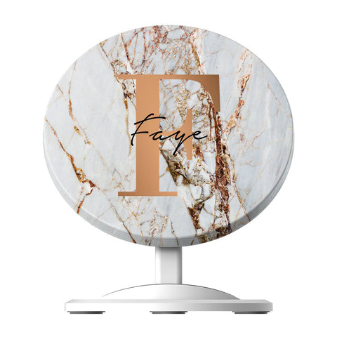Personalised Cracked Marble Bronze Initials Wireless Charger