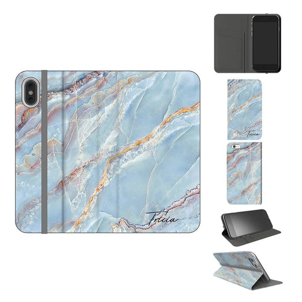 Personalised Ocean Marble Name iPhone XS Case