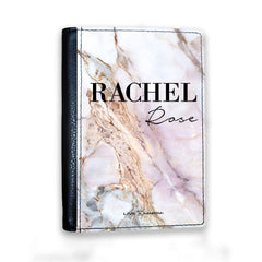 Personalised White Galaxy Marble Name Passport Cover