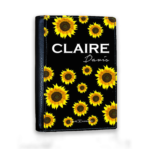 Personalised Sunflower Name Passport Cover